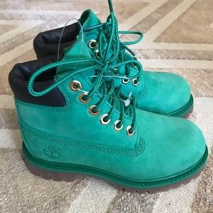 Kids Sz 10 Green Suede Timberland Boots New